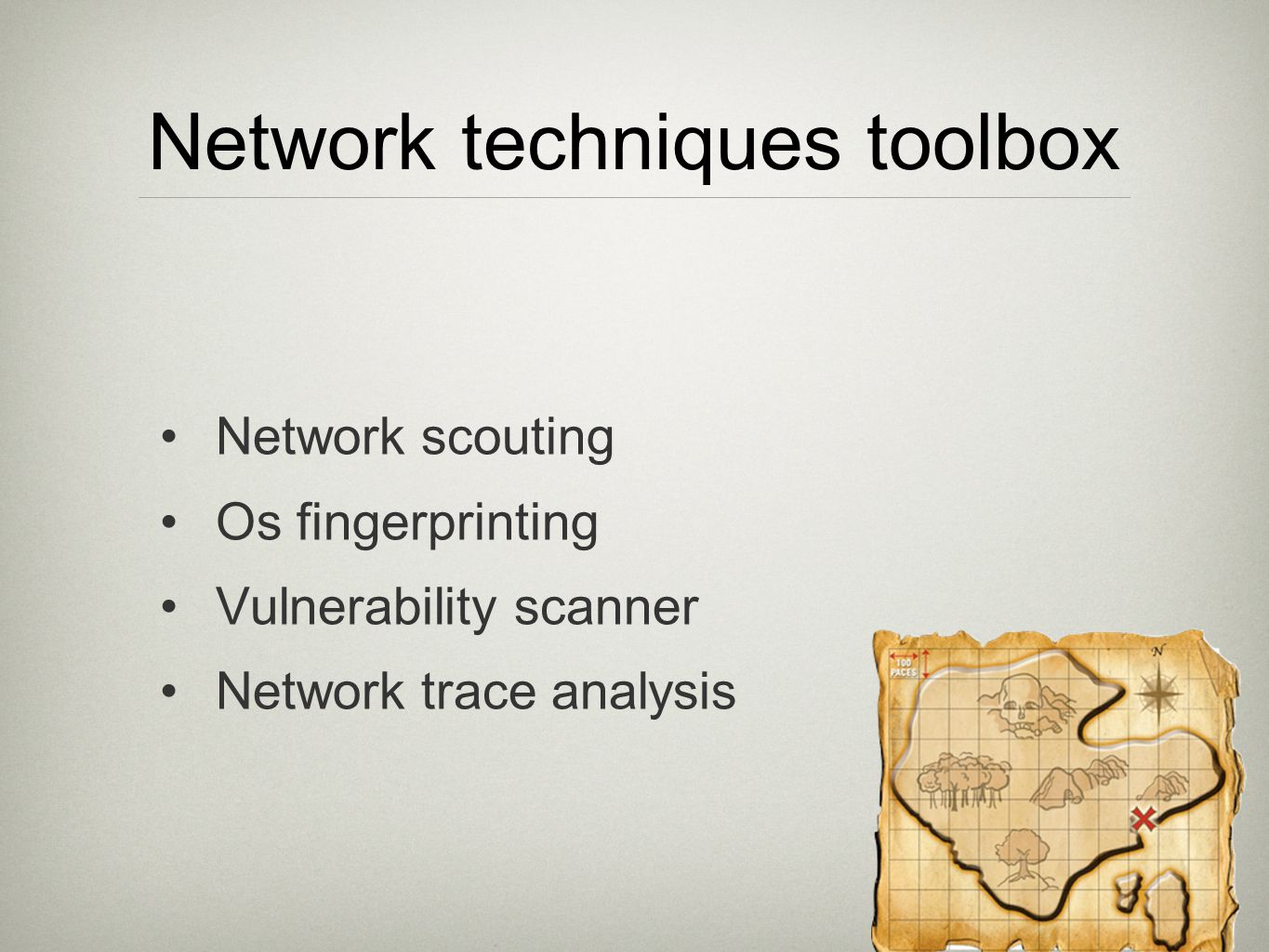 Nmap Fingerprinting (v2) Mix all previous techniques 7 TCP probes, 1 ICMP, 1 UDP TCP probes are sent exactly 110 milliseconds apart Required to analyze initial sequence numbers IP IDs TCP timestamps