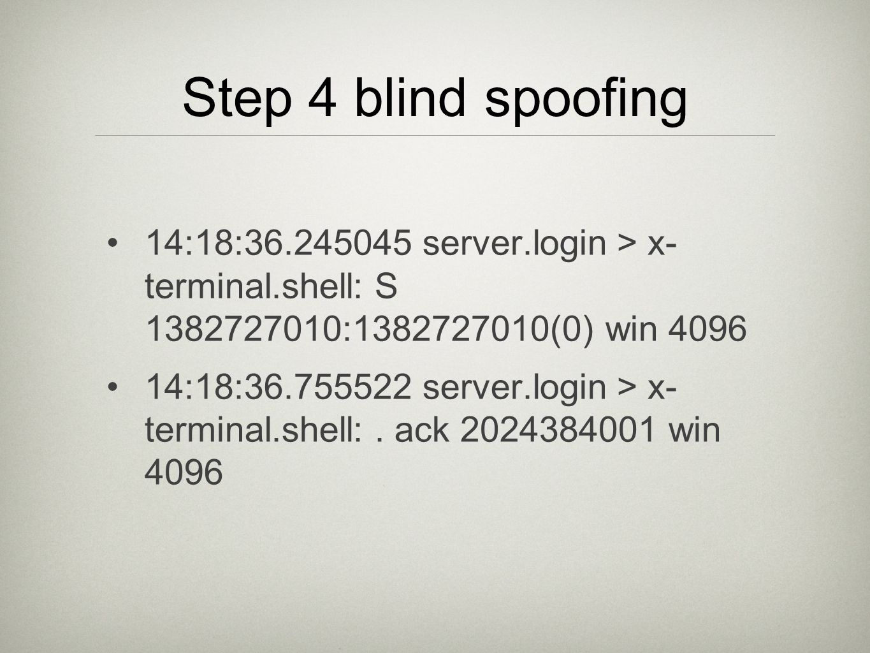 Step 4 blind spoofing 14:18:36.245045 server.login > x- terminal.shell: S 1382727010:1382727010(0) win 4096 14:18:36.755522 server.login > x- terminal.shell:.