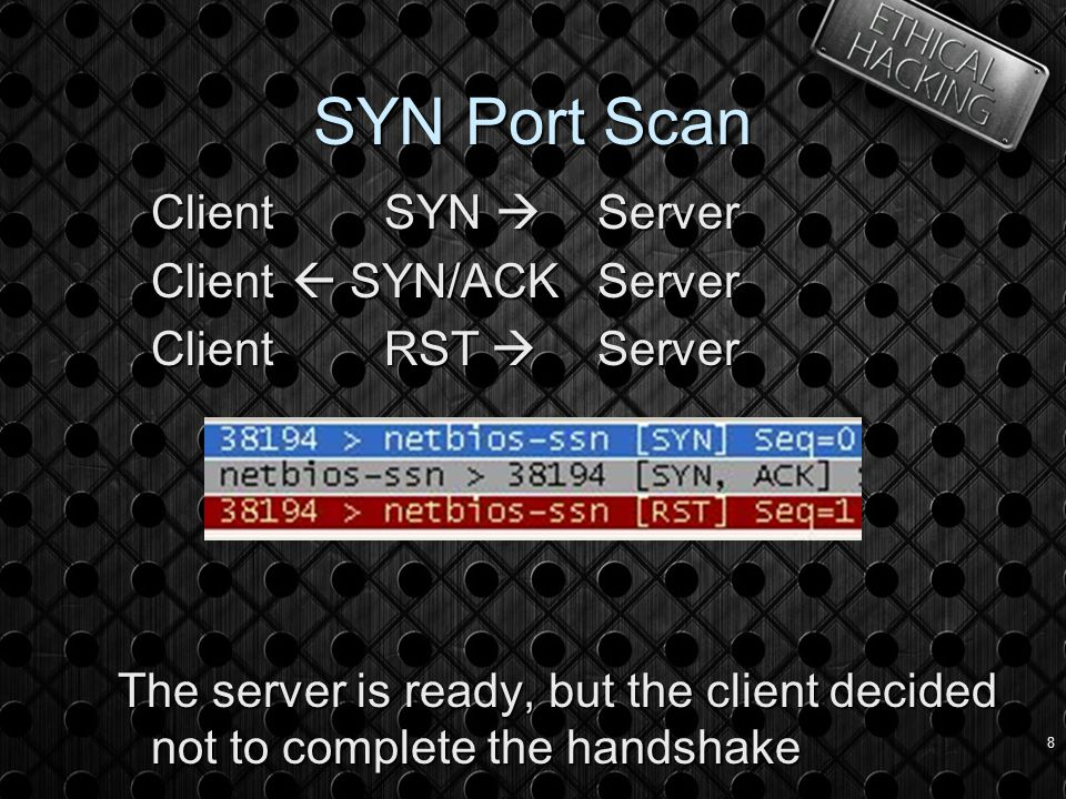 8 SYN Port Scan Client SYN  Server Client  SYN/ACKServer Client RST  Server The server is ready, but the client decided not to complete the handshake
