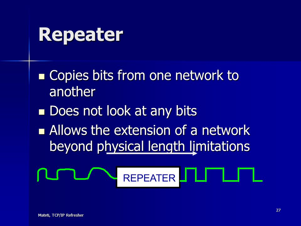 Mateti, TCP/IP Refresher 27 Repeater Copies bits from one network to another Copies bits from one network to another Does not look at any bits Does no