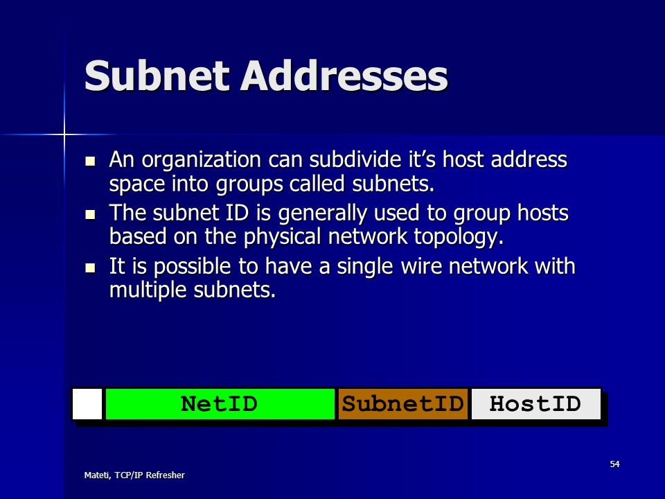 Mateti, TCP/IP Refresher 54 Subnet Addresses An organization can subdivide it's host address space into groups called subnets. An organization can sub