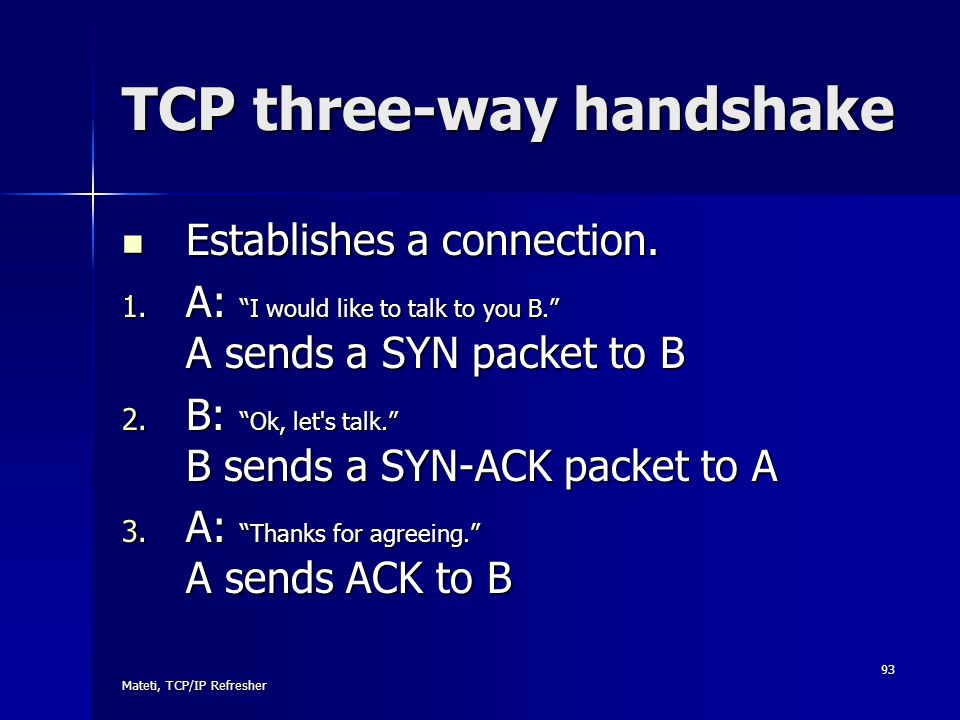 "Mateti, TCP/IP Refresher 93 TCP three-way handshake Establishes a connection. Establishes a connection. 1. A: ""I would like to talk to you B."" A sends"