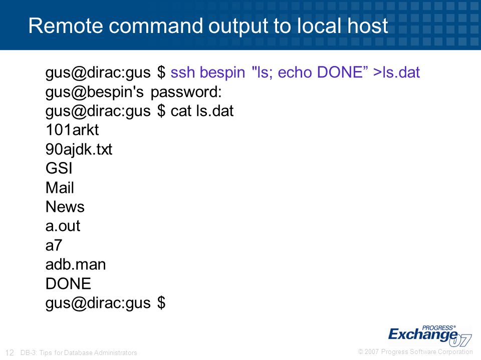 © 2007 Progress Software Corporation 12 DB-3: Tips for Database Administrators Remote command output to local host gus@dirac:gus $ ssh bespin