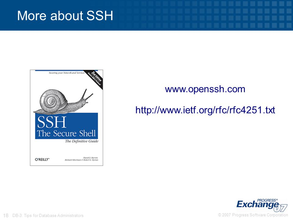 © 2007 Progress Software Corporation 18 DB-3: Tips for Database Administrators More about SSH www.openssh.com http://www.ietf.org/rfc/rfc4251.txt