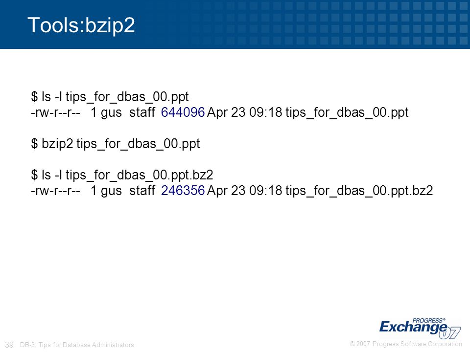 © 2007 Progress Software Corporation 39 DB-3: Tips for Database Administrators Tools:bzip2 $ ls -l tips_for_dbas_00.ppt -rw-r--r-- 1 gus staff 644096