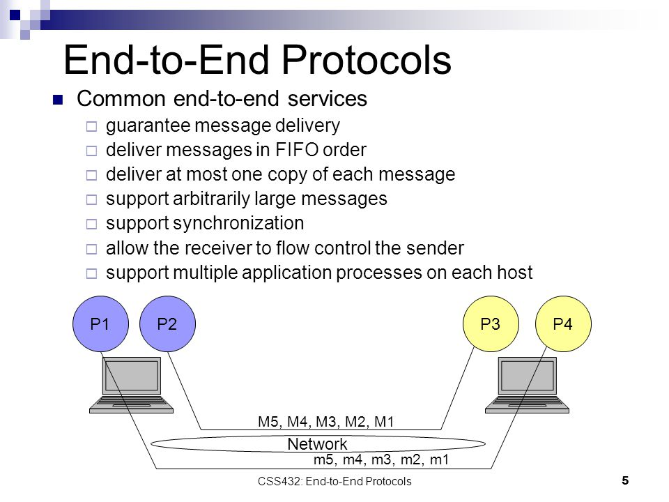 5 End-to-End Protocols Common end-to-end services  guarantee message delivery  deliver messages in FIFO order  deliver at most one copy of each message  support arbitrarily large messages  support synchronization  allow the receiver to flow control the sender  support multiple application processes on each host P1P2P3P4 Network M5, M4, M3, M2, M1 m5, m4, m3, m2, m1 CSS432: End-to-End Protocols