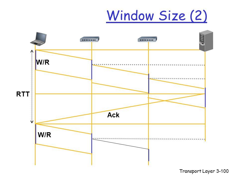 Transport Layer3-100 Window Size (2) W/R RTT W/R Ack