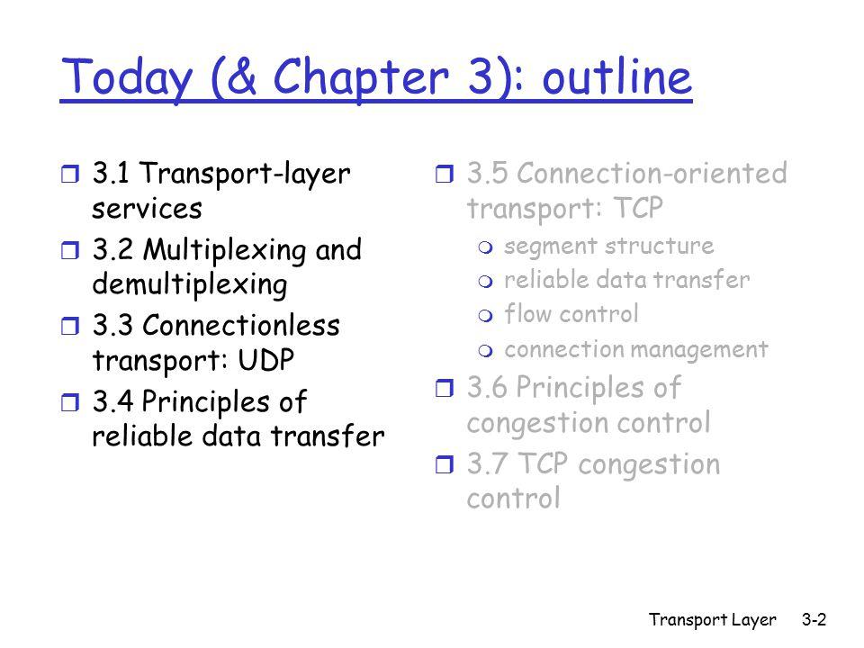 Transport Layer3-33 rdt2.0: FSM specification Wait for call from above sndpkt = make_pkt(data, checksum) udt_send(sndpkt) extract(rcvpkt,data) deliver_data(data) udt_send(ACK) rdt_rcv(rcvpkt) && notcorrupt(rcvpkt) rdt_rcv(rcvpkt) && isACK(rcvpkt) udt_send(sndpkt) rdt_rcv(rcvpkt) && isNAK(rcvpkt) udt_send(NAK) rdt_rcv(rcvpkt) && corrupt(rcvpkt) Wait for ACK or NAK Wait for call from below sender receiver rdt_send(data) ready