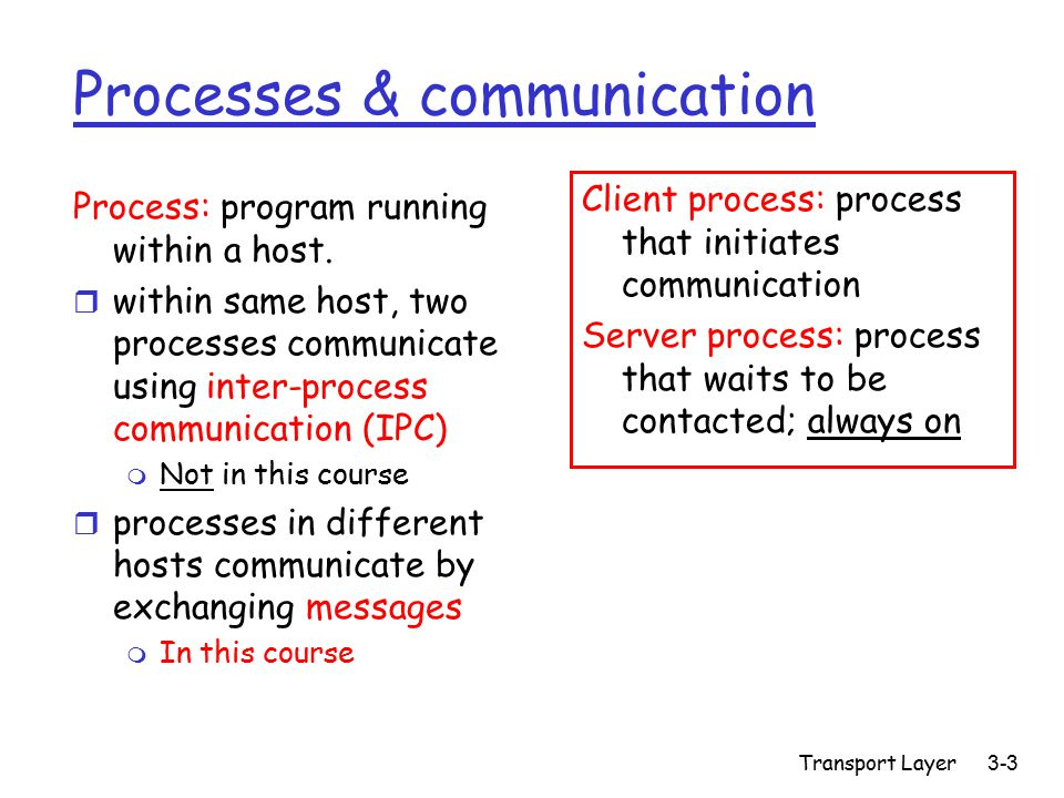 Transport Layer3-3 Processes & communication Process: program running within a host.