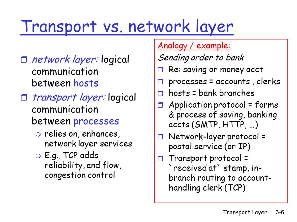 Transport Layer3-57 TCP Services r TCP connection-based transport service: m Setup connection m Use connection m Close connection r TCP connection services: m Flow control: don't send faster than receiver can absorb [later] m Congestion control: slow down if network gets congested [later] m Fairness: fair sharing of Net resources among connections [later] m Reliable, pipelined stream service – next!