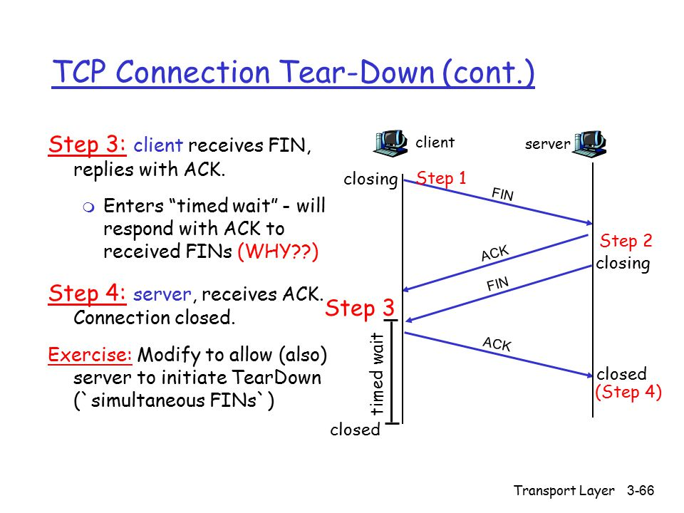 Transport Layer3-66 TCP Connection Tear-Down (cont.) Step 3: client receives FIN, replies with ACK.