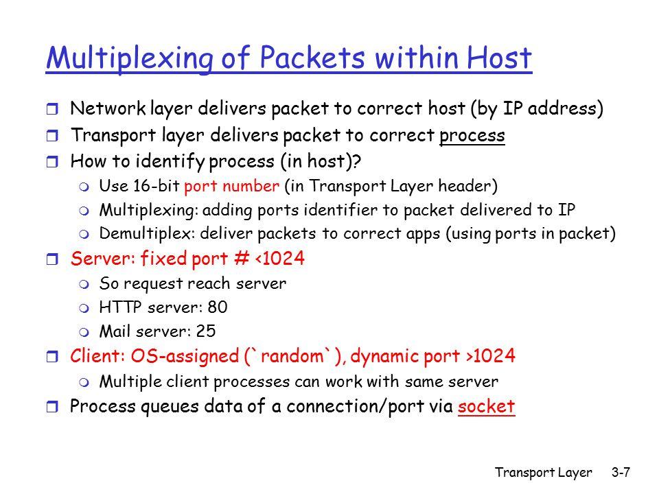 Transport Layer3-8 Sockets and Sockets API r processes sends/receive messages via socket API r API=Application Program Interface r Socket: in/out buffer m Metaphor: mailbox process TCP/UDP socket host (Client / Server) process TCP/UDP socket host Internet r Sockets API functions: m Send, receive m Connection (TCP, not UDP): open, close m Fix a few parameters, e.g.