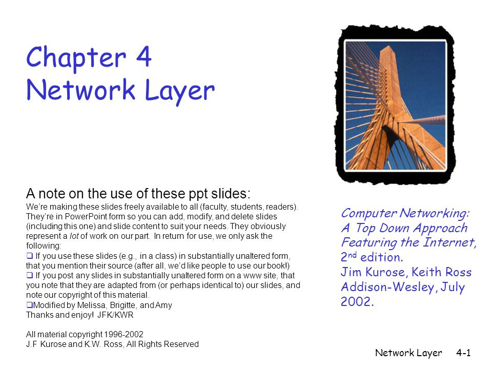 Network Layer4-1 Chapter 4 Network Layer Computer Networking: A Top Down Approach Featuring the Internet, 2 nd edition. Jim Kurose, Keith Ross Addison