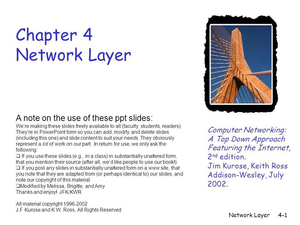 Network Layer4-12 Network Layer Class B Sub-Netting: 2 bits Original Mask 128 64 32 16 8 4 2 1New Mask 255.255.