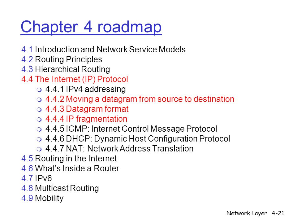 Network Layer4-21 Chapter 4 roadmap 4.1 Introduction and Network Service Models 4.2 Routing Principles 4.3 Hierarchical Routing 4.4 The Internet (IP)