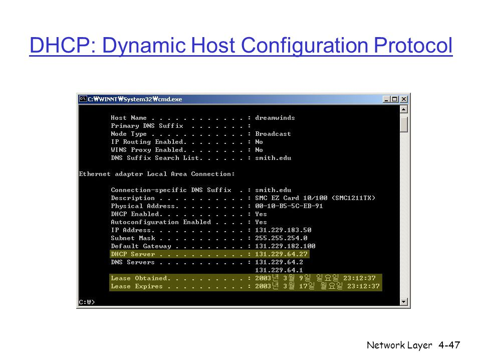 Network Layer4-47 DHCP: Dynamic Host Configuration Protocol
