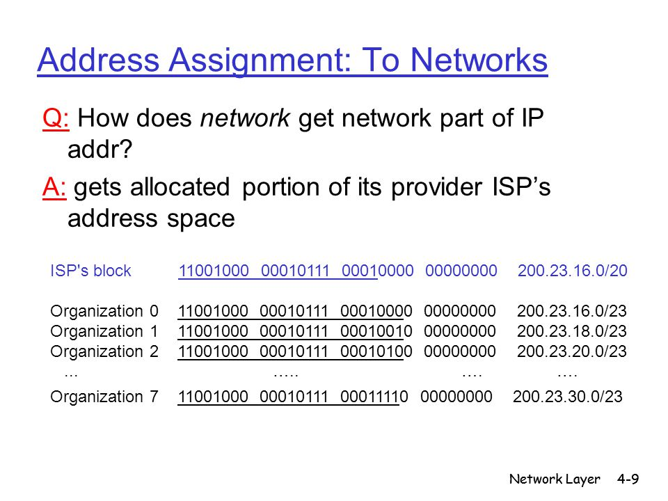 Network Layer4-50 NAT: Network Address Translation 192.168.0.108 192.168.0.109 192.168.0.110 192.168.0.1 12.222.208.63 local network (e.g., home network) 192.168.0/24 rest of Internet Datagrams with source or destination in this network have 192.168.0/24 address for source, destination (as usual) All datagrams leaving local network have same single source NAT IP address: 12.222.208.63, different source port numbers