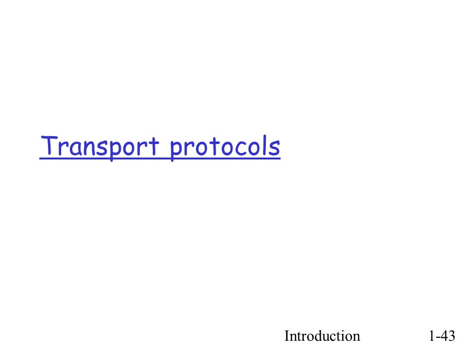 Introduction1-43 Transport protocols