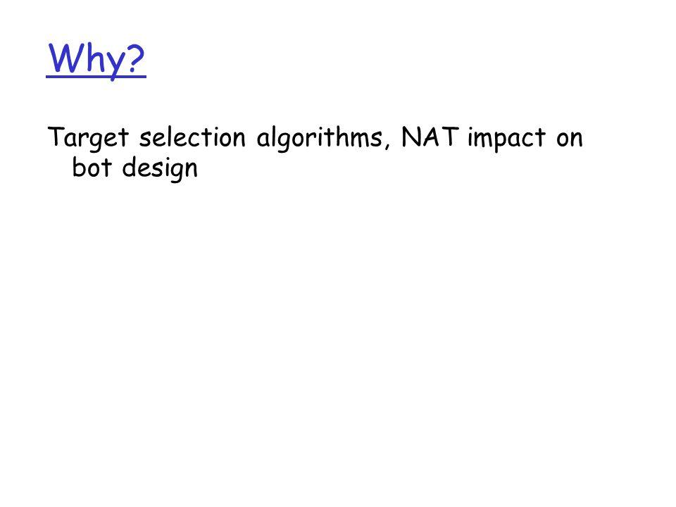 Why Target selection algorithms, NAT impact on bot design