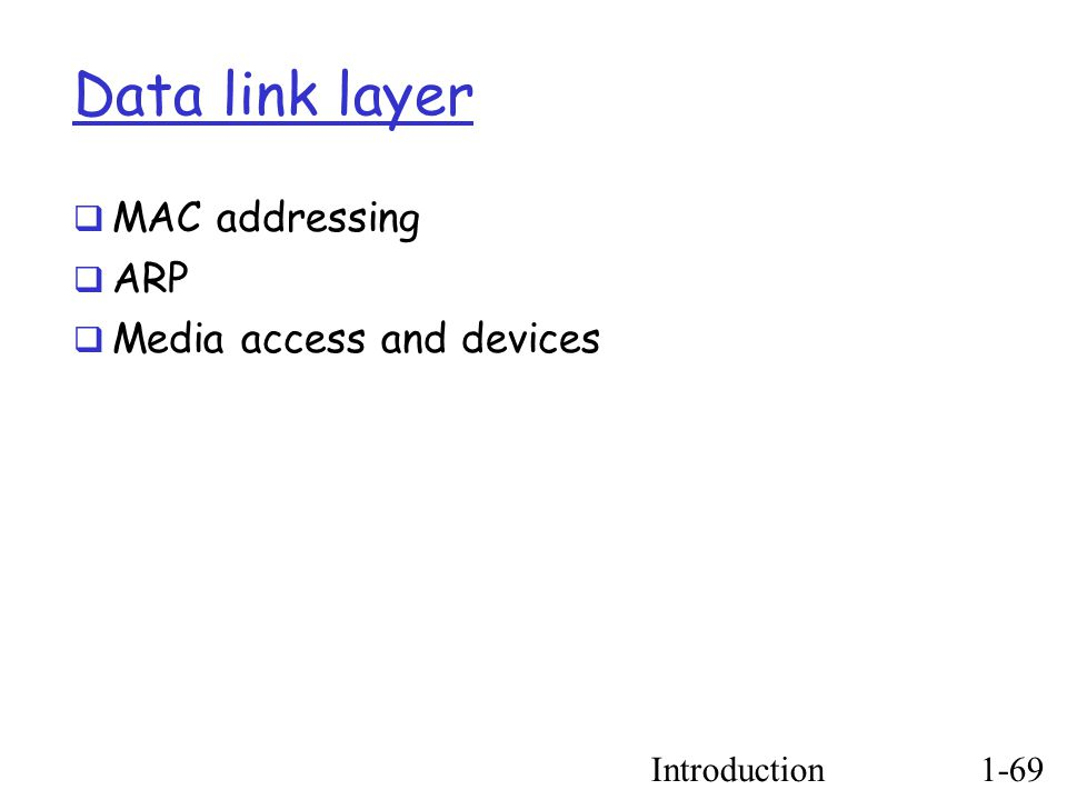 Introduction1-69 Data link layer  MAC addressing  ARP  Media access and devices