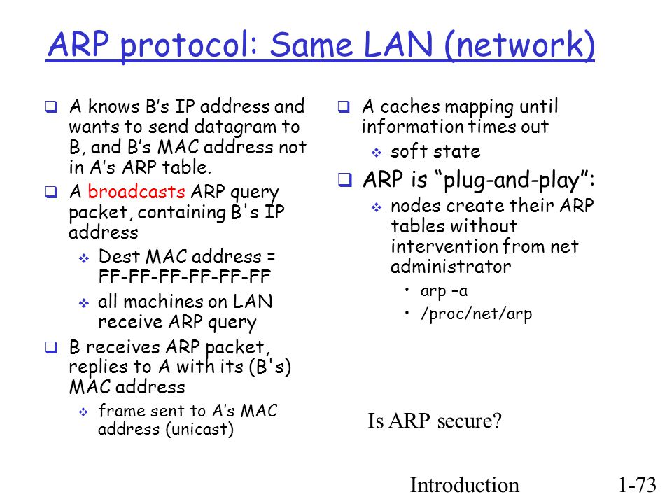 Introduction1-73 ARP protocol: Same LAN (network) ‏  A knows B's IP address and wants to send datagram to B, and B's MAC address not in A's ARP table.