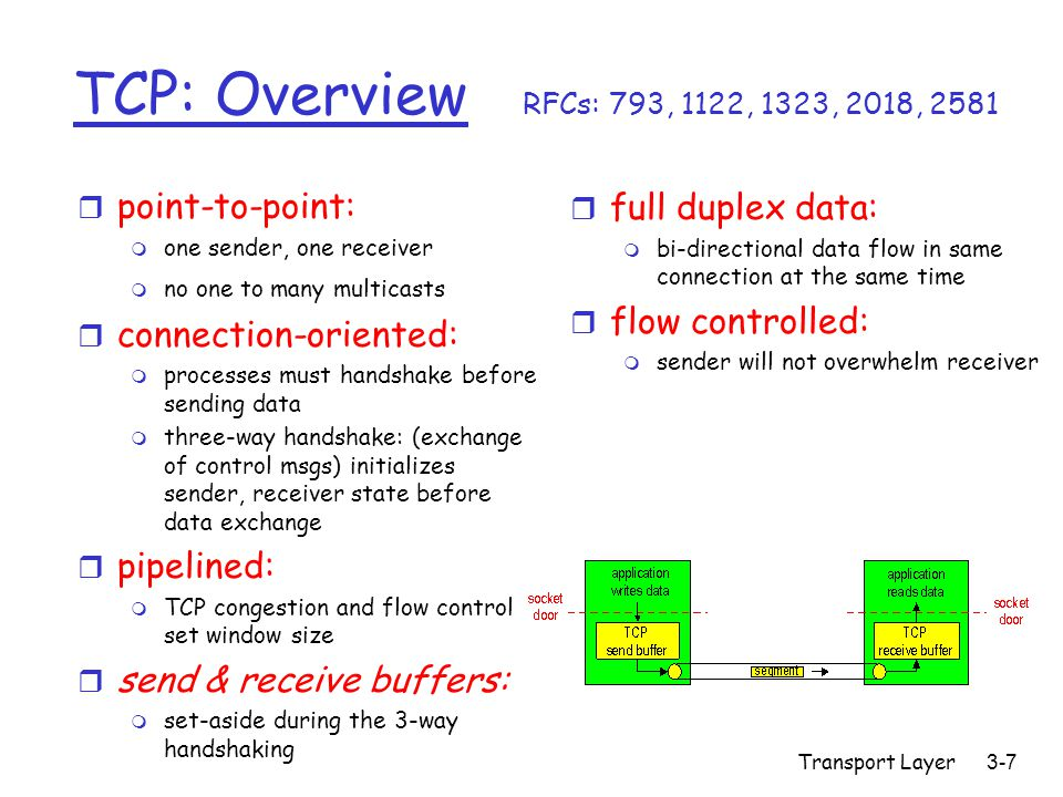 Transport Layer3-7 TCP: Overview RFCs: 793, 1122, 1323, 2018, 2581 r full duplex data: m bi-directional data flow in same connection at the same time r flow controlled: m sender will not overwhelm receiver r point-to-point: m one sender, one receiver m no one to many multicasts r connection-oriented: m processes must handshake before sending data m three-way handshake: (exchange of control msgs) initializes sender, receiver state before data exchange r pipelined: m TCP congestion and flow control set window size r send & receive buffers: m set-aside during the 3-way handshaking