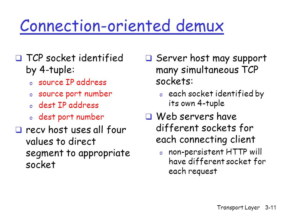 Transport Layer3-11 Connection-oriented demux  TCP socket identified by 4-tuple: o source IP address o source port number o dest IP address o dest port number  recv host uses all four values to direct segment to appropriate socket  Server host may support many simultaneous TCP sockets: o each socket identified by its own 4-tuple  Web servers have different sockets for each connecting client o non-persistent HTTP will have different socket for each request