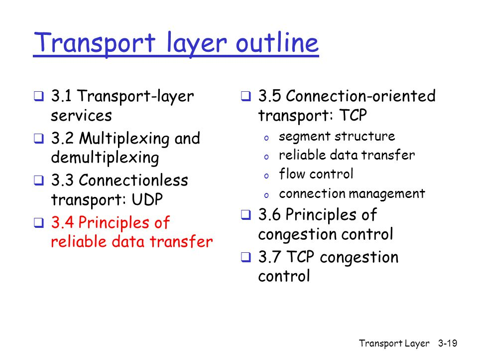 Transport Layer3-19 Transport layer outline  3.1 Transport-layer services  3.2 Multiplexing and demultiplexing  3.3 Connectionless transport: UDP  3.4 Principles of reliable data transfer  3.5 Connection-oriented transport: TCP o segment structure o reliable data transfer o flow control o connection management  3.6 Principles of congestion control  3.7 TCP congestion control