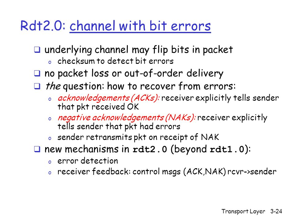 Transport Layer3-24 Rdt2.0: channel with bit errors  underlying channel may flip bits in packet o checksum to detect bit errors  no packet loss or out-of-order delivery  the question: how to recover from errors: o acknowledgements (ACKs): receiver explicitly tells sender that pkt received OK o negative acknowledgements (NAKs): receiver explicitly tells sender that pkt had errors o sender retransmits pkt on receipt of NAK  new mechanisms in rdt2.0 (beyond rdt1.0 ): o error detection o receiver feedback: control msgs (ACK,NAK) rcvr->sender