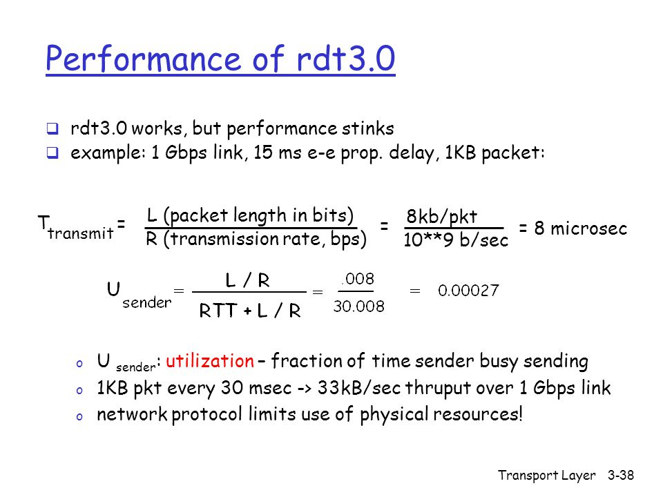 Transport Layer3-38 Performance of rdt3.0  rdt3.0 works, but performance stinks  example: 1 Gbps link, 15 ms e-e prop.