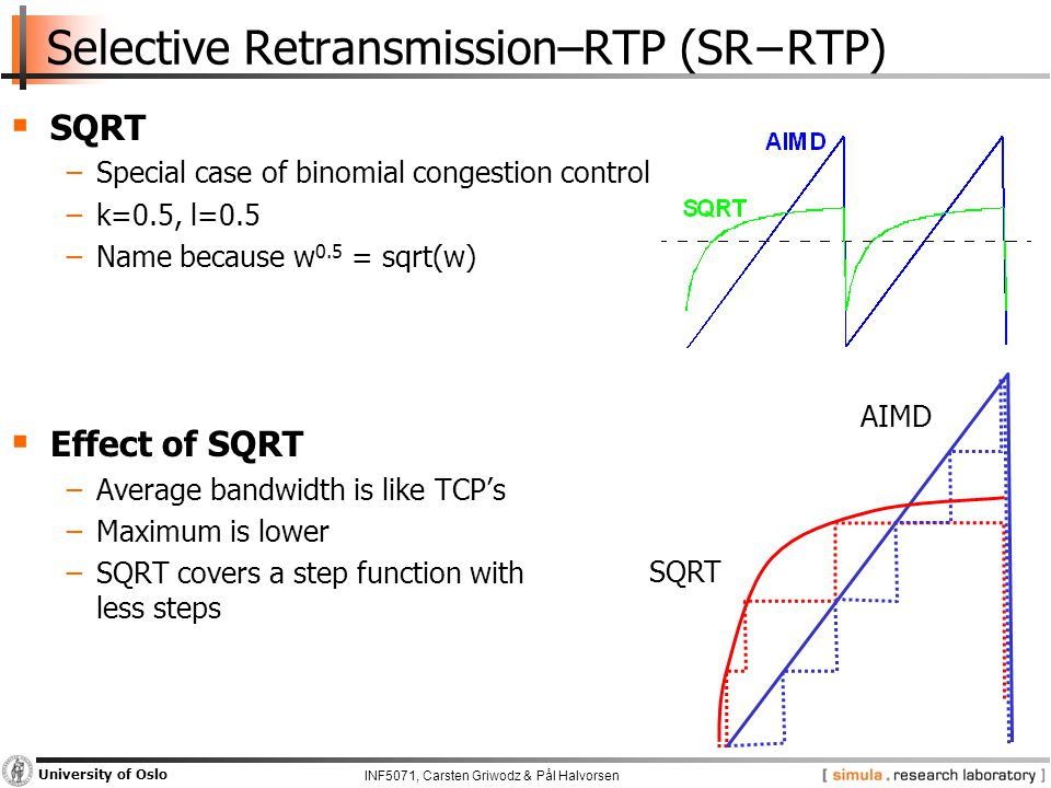 INF5071, Carsten Griwodz & Pål Halvorsen University of Oslo Selective Retransmission–RTP (SR−RTP)  SQRT −Special case of binomial congestion control −k=0.5, l=0.5 −Name because w 0.5 = sqrt(w)  Effect of SQRT −Average bandwidth is like TCP's −Maximum is lower −SQRT covers a step function with less steps AIMD SQRT