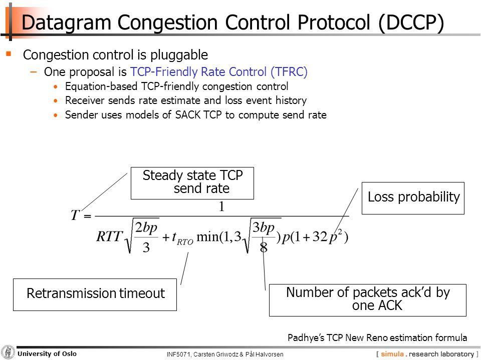 INF5071, Carsten Griwodz & Pål Halvorsen University of Oslo Datagram Congestion Control Protocol (DCCP)  Congestion control is pluggable −One proposal is TCP-Friendly Rate Control (TFRC) Equation-based TCP-friendly congestion control Receiver sends rate estimate and loss event history Sender uses models of SACK TCP to compute send rate Steady state TCP send rate Loss probability Number of packets ack'd by one ACK Retransmission timeout Padhye's TCP New Reno estimation formula