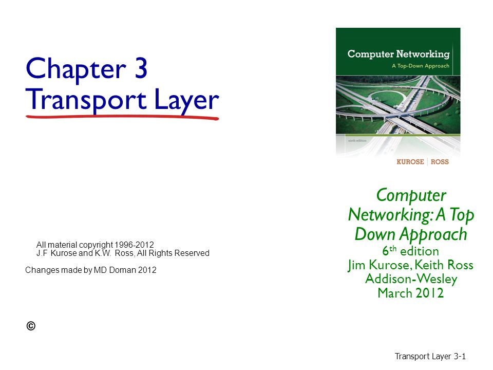Transport Layer 3-22 Chapter 3 outline 3.1 transport-layer services 3.2 multiplexing and demultiplexing 3.3 connectionless transport: UDP 3.4 principles of reliable data transfer 3.5 connection-oriented transport: TCP  segment structure  reliable data transfer  flow control  connection management 3.6 principles of congestion control 3.7 TCP congestion control