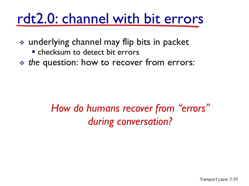 Transport Layer 3-29  underlying channel may flip bits in packet  checksum to detect bit errors  the question: how to recover from errors:  acknowledgements (ACKs): receiver explicitly tells sender that pkt received OK  negative acknowledgements (NAKs): receiver explicitly tells sender that pkt had errors  sender retransmits pkt on receipt of NAK  new mechanisms in rdt2.0 (beyond rdt1.0 ):  error detection  receiver feedback: control msgs (ACK,NAK) rcvr- >sender rdt2.0: channel with bit errors How do humans recover from errors during conversation