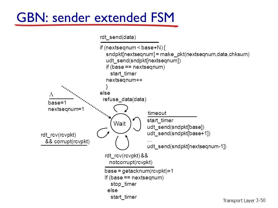 Transport Layer 3-50 GBN: sender extended FSM Wait start_timer udt_send(sndpkt[base]) udt_send(sndpkt[base+1]) … udt_send(sndpkt[nextseqnum-1]) timeout rdt_send(data) if (nextseqnum < base+N) { sndpkt[nextseqnum] = make_pkt(nextseqnum,data,chksum) udt_send(sndpkt[nextseqnum]) if (base == nextseqnum) start_timer nextseqnum++ } else refuse_data(data) base = getacknum(rcvpkt)+1 If (base == nextseqnum) stop_timer else start_timer rdt_rcv(rcvpkt) && notcorrupt(rcvpkt) base=1 nextseqnum=1 rdt_rcv(rcvpkt) && corrupt(rcvpkt) 