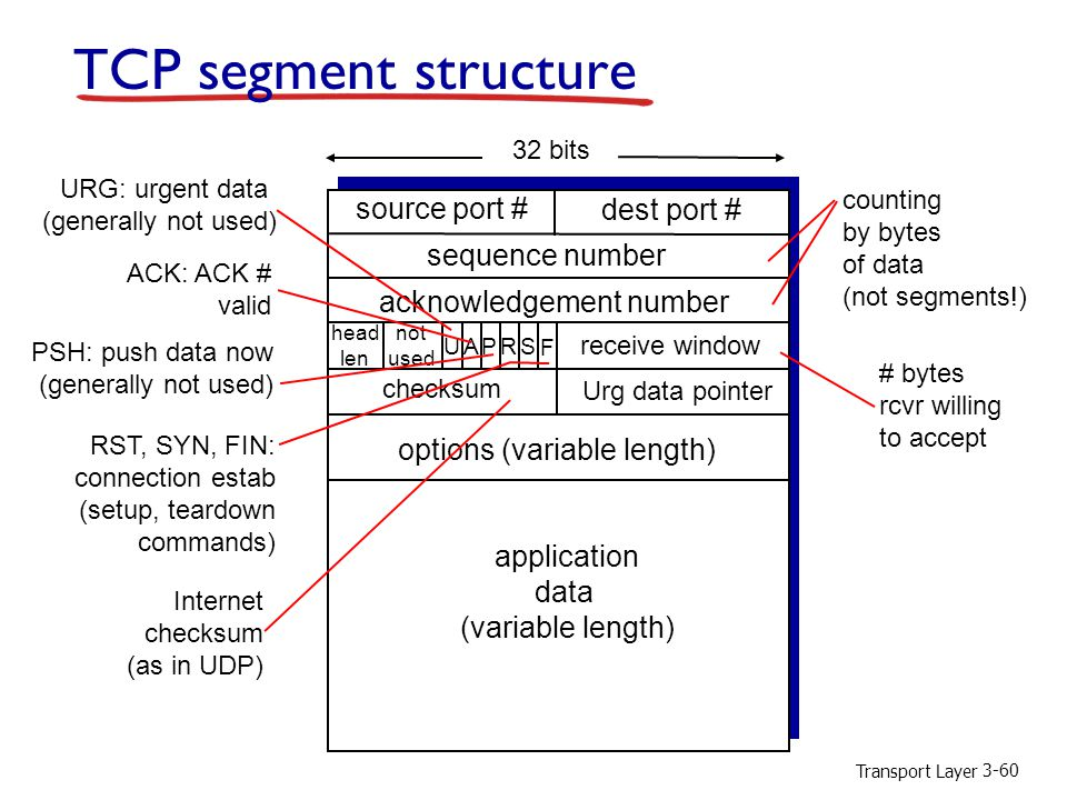 Transport Layer 3-60 TCP segment structure source port # dest port # 32 bits application data (variable length) sequence number acknowledgement number receive window Urg data pointer checksum F SR PAU head len not used options (variable length) URG: urgent data (generally not used) ACK: ACK # valid PSH: push data now (generally not used) RST, SYN, FIN: connection estab (setup, teardown commands) # bytes rcvr willing to accept counting by bytes of data (not segments!) Internet checksum (as in UDP)