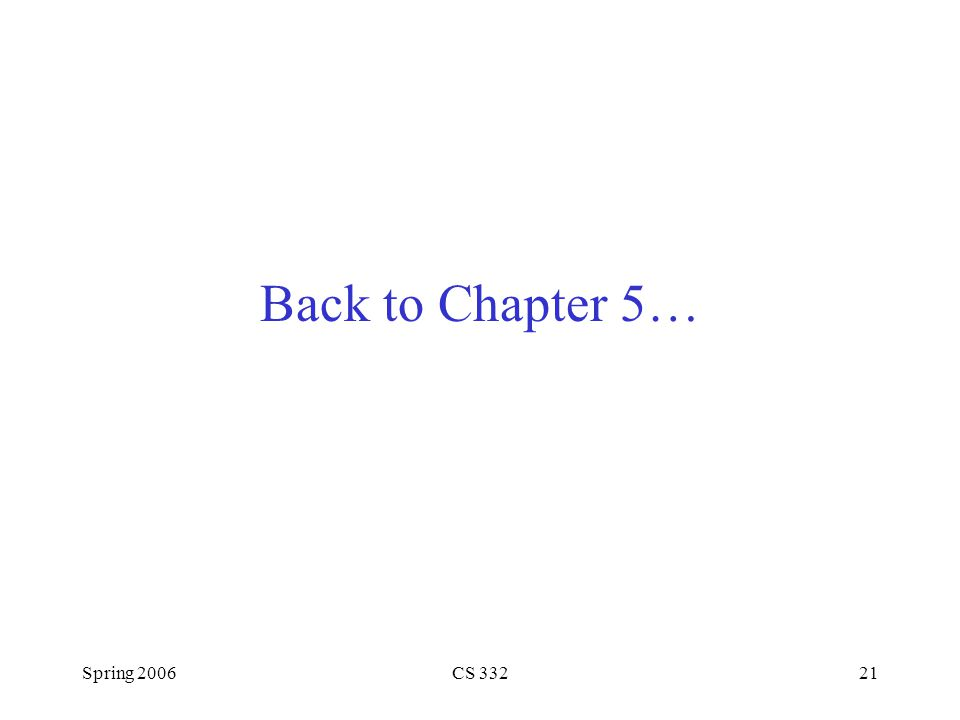 Spring 2006CS 33221 Back to Chapter 5…