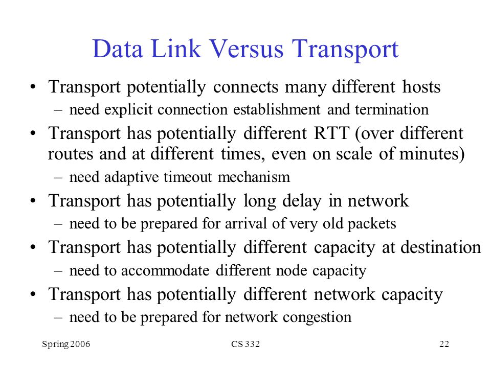 Spring 2006CS 33222 Data Link Versus Transport Transport potentially connects many different hosts –need explicit connection establishment and termina