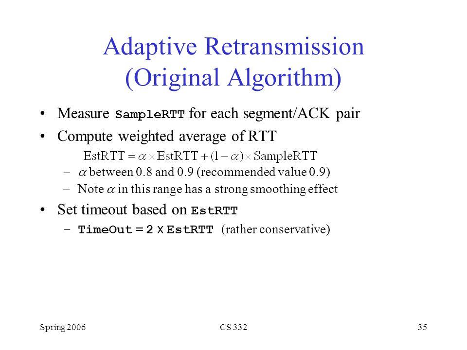Spring 2006CS 33235 Adaptive Retransmission (Original Algorithm) Measure SampleRTT for each segment/ACK pair Compute weighted average of RTT  betwee