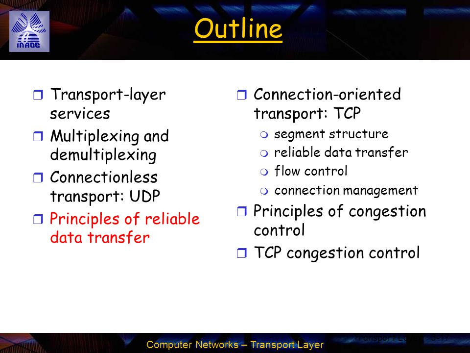 Computer Networks – Transport Layer Transport Layer3-17 Outline r Transport-layer services r Multiplexing and demultiplexing r Connectionless transpor