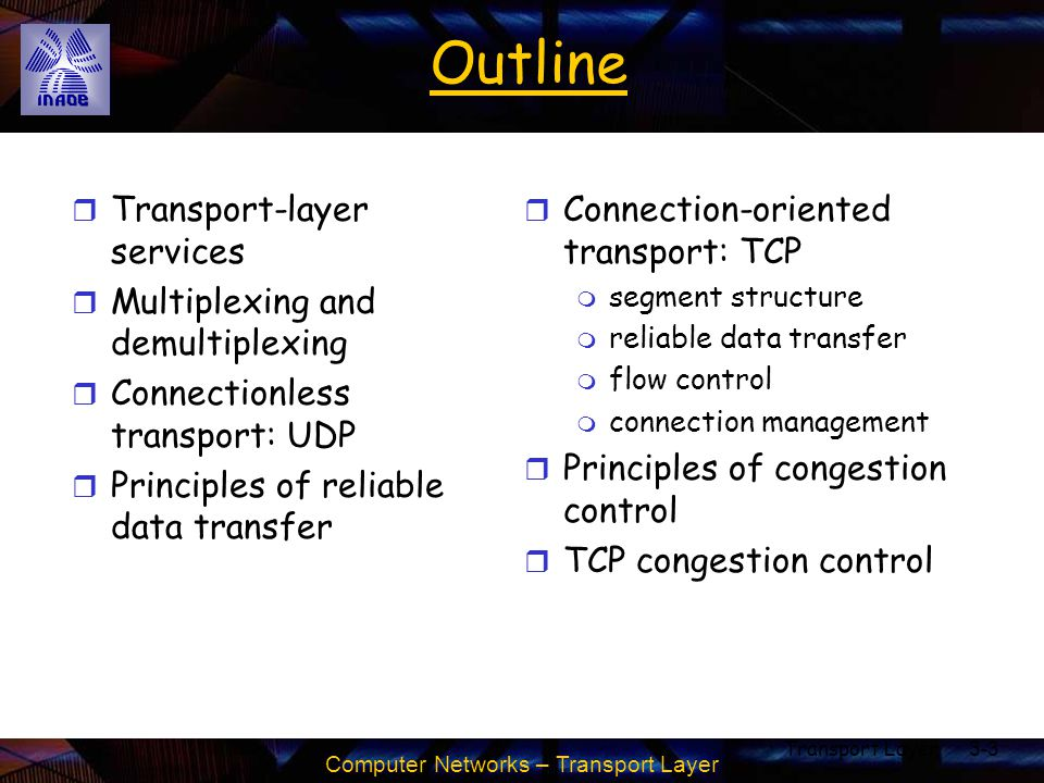 Computer Networks – Transport Layer Transport Layer3-4 Transport services and protocols r provide logical communication between app processes running on different hosts r transport protocols run in end systems m send side: breaks app messages into segments, passes to network layer m rcv side: reassembles segments into messages, passes to app layer r more than one transport protocol available to apps m Internet: TCP and UDP application transport network data link physical application transport network data link physical network data link physical network data link physical network data link physical network data link physical network data link physical logical end-end transport
