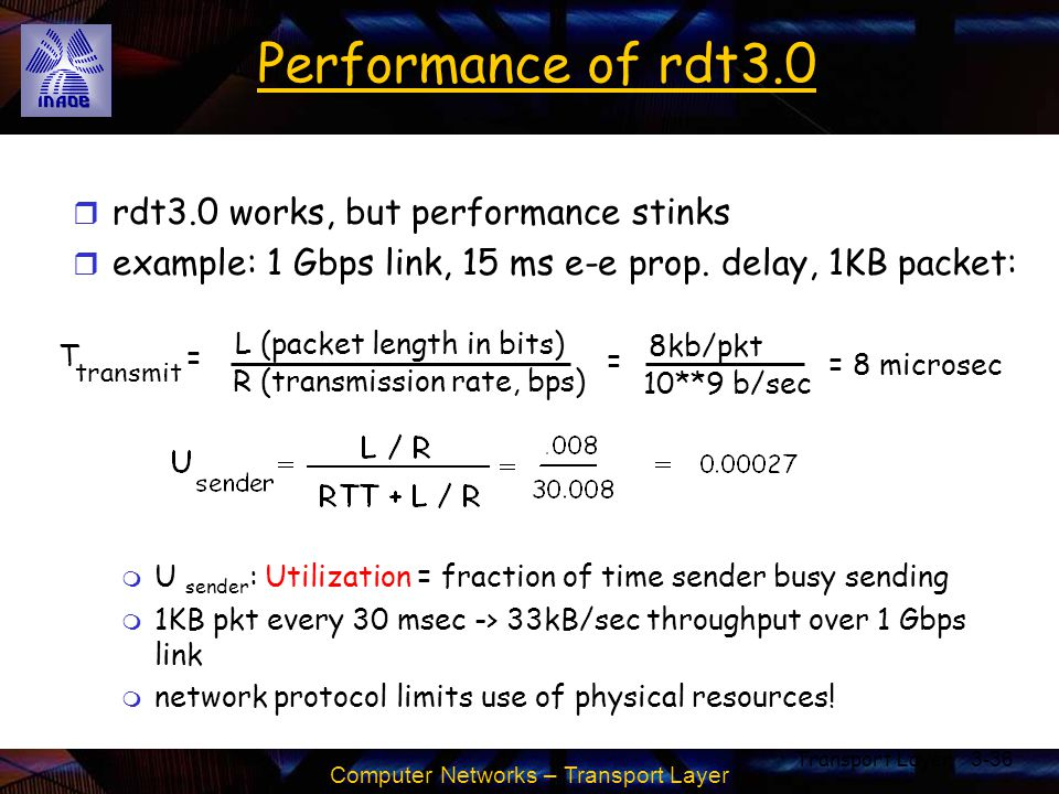 Computer Networks – Transport Layer Transport Layer3-36 Performance of rdt3.0 r rdt3.0 works, but performance stinks r example: 1 Gbps link, 15 ms e-e