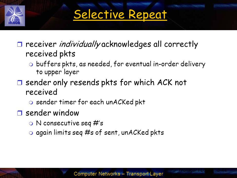 Computer Networks – Transport Layer Transport Layer3-44 Selective Repeat r receiver individually acknowledges all correctly received pkts m buffers pk