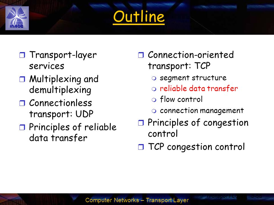 Computer Networks – Transport Layer Transport Layer3-58 Outline r Transport-layer services r Multiplexing and demultiplexing r Connectionless transpor