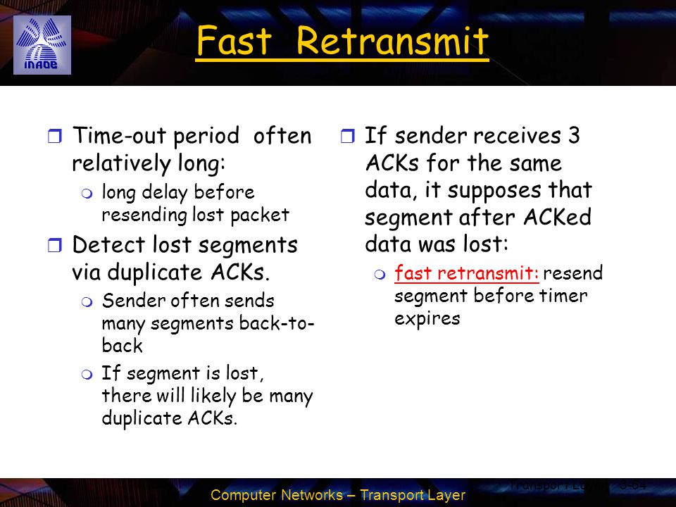 Computer Networks – Transport Layer Transport Layer3-64 Fast Retransmit r Time-out period often relatively long: m long delay before resending lost pa
