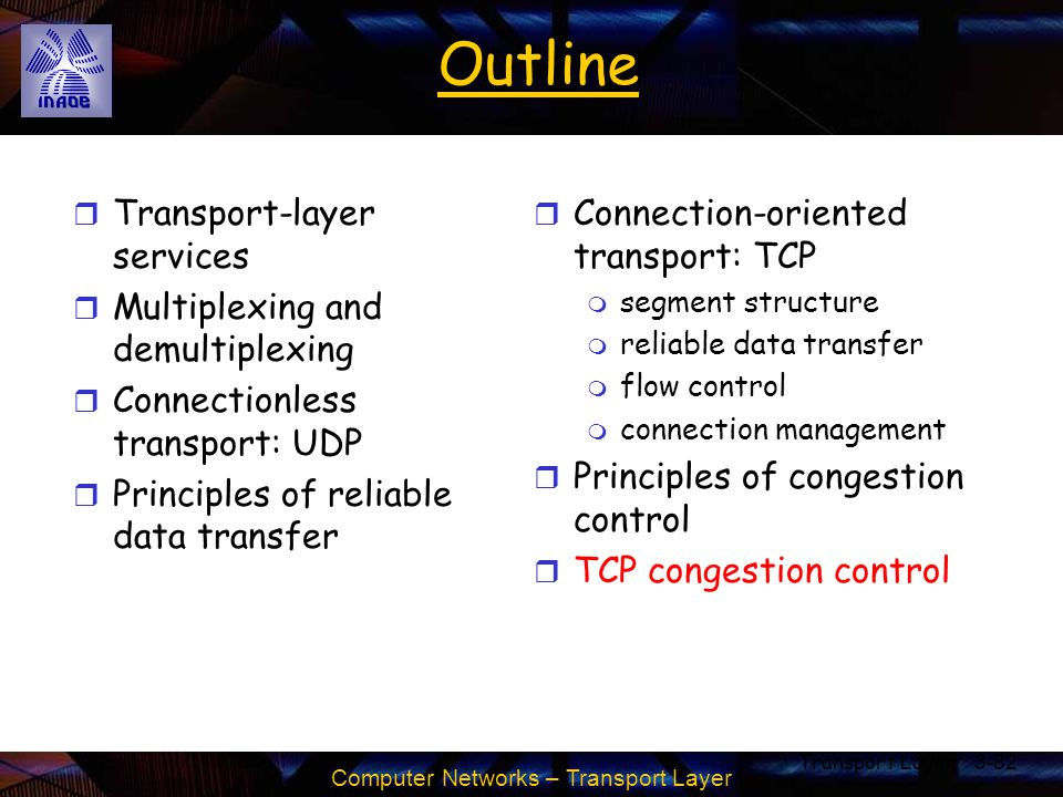 Computer Networks – Transport Layer Transport Layer3-82 Outline r Transport-layer services r Multiplexing and demultiplexing r Connectionless transpor