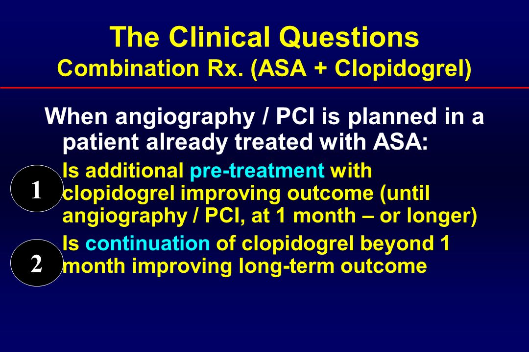  Goals of therapy 1.Prevent ischemic events until coronary angiography / PCI Before plaque stabilization was achieved 2.Prevent PCI / stent related ischemic complications Clopidogrel before coronary angiography - Patients with ACS 1