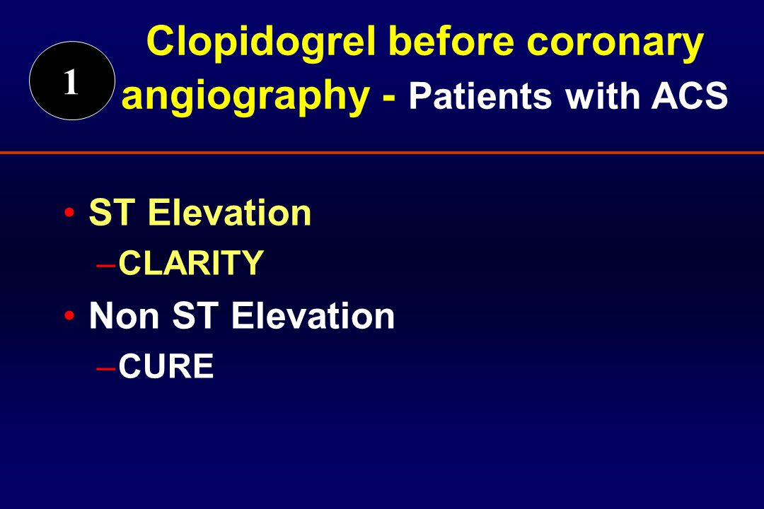 ST Elevation –CLARITY Non ST Elevation –CURE 1 Clopidogrel before coronary angiography - Patients with ACS