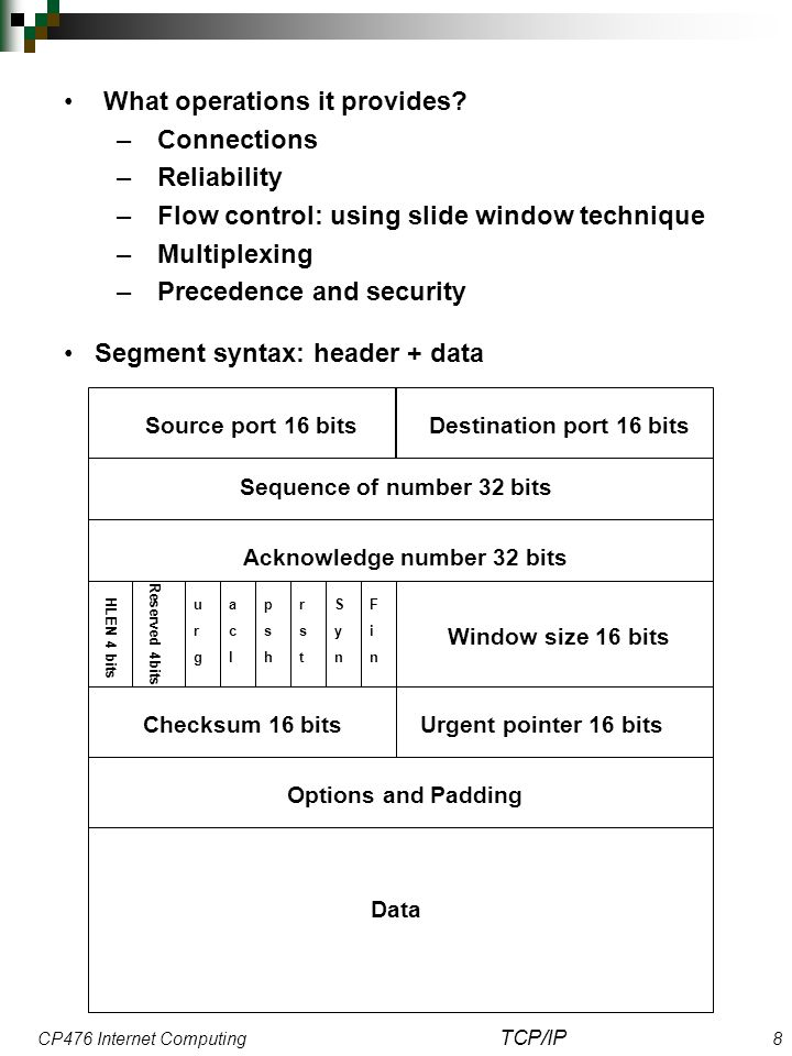 CP476 Internet Computing TCP/IP 8 What operations it provides.