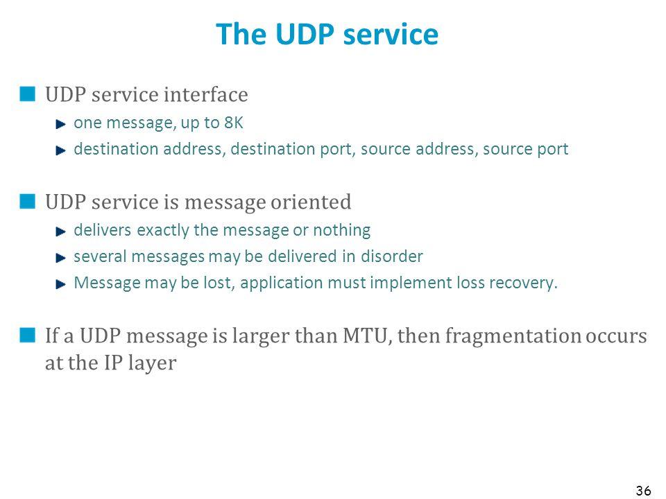 36 The UDP service UDP service interface one message, up to 8K destination address, destination port, source address, source port UDP service is messa